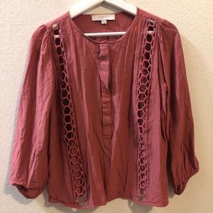 Ann Taylor's Loft Mauve Tunic button up